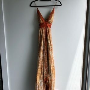 Nicole Miller Collection orange and gold dress